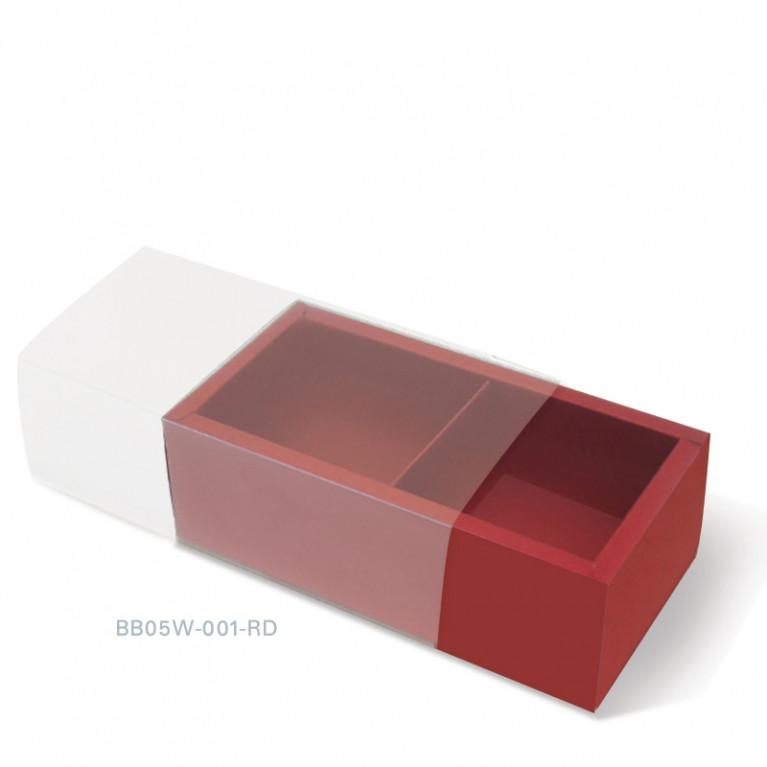BB05W-001-RD กล่องสีพื้น แบบแบ่งช่องฝาสไลด์ 2 ช่อง ก.7.5 x ย.15.5 x ส.5 ซม.