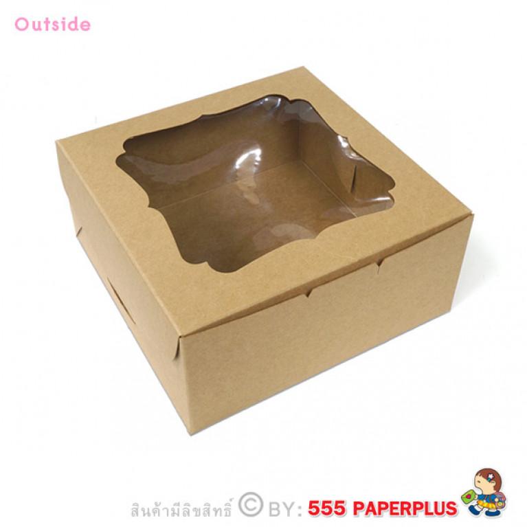 BK19W-K01 กล่องเค้ก 1 ปอนด์ 20x20x9.5 ซม. (10กล่อง)