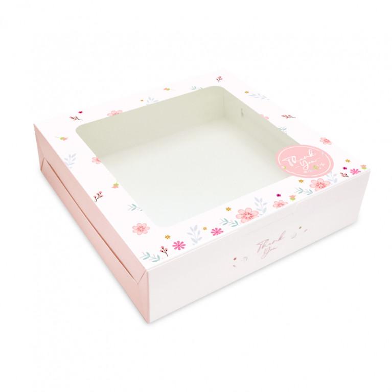 BK60W-010 กล่องเค้ก1ปอนด์เตี้ย (20กล่อง) 20.5x20.5x5.5 ซม.
