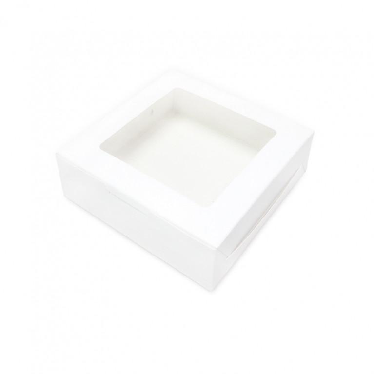 BK61W-WH1 กล่องขนมเปี๊ยะ 5 ชิ้นสีขาว12x12x4 ซม.(20 กล่อง)